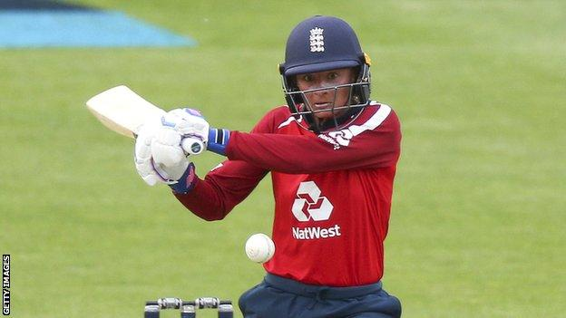 England opener Danni Wyatt plays a shot in the first T20 against New Zealand