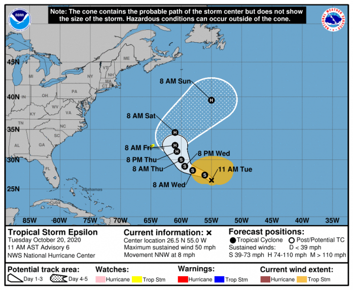 TS Epsilon latest: Tropical storm watch issued for Bermuda