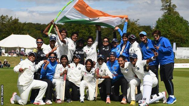India celebrate their victory over England