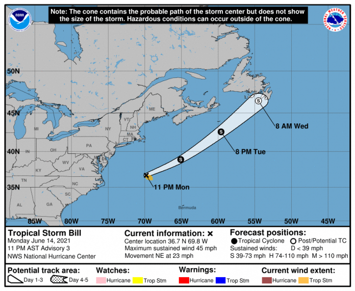 Tropical Storm Bill forms, likely to be short-lived