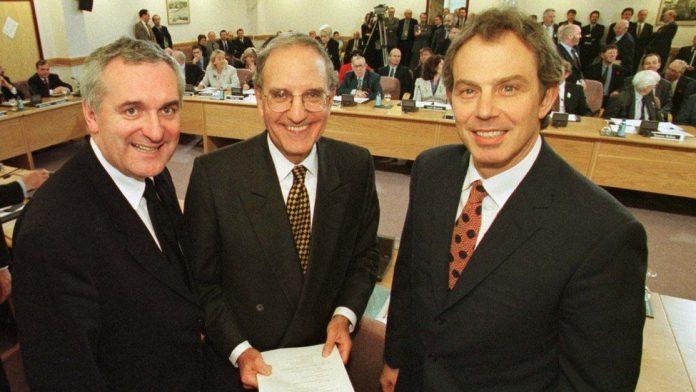 Bertie Ahern, George Mitchell and Tony Blair