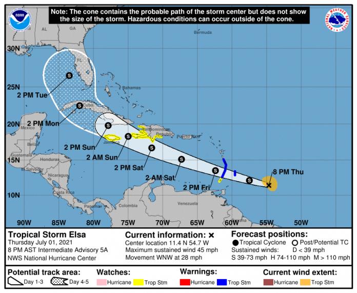 Sister Islands placed under tropical storm alert as TS Elsa continues track