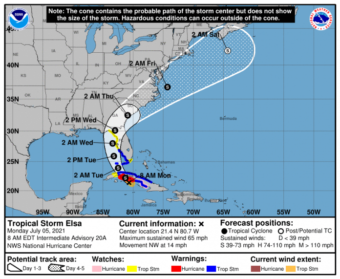 Elsa, once again a tropical storm, has passed north of the Cayman Islands.
