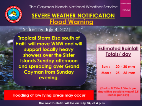 Tropical Storm Elsa prompts flood warning for Cayman