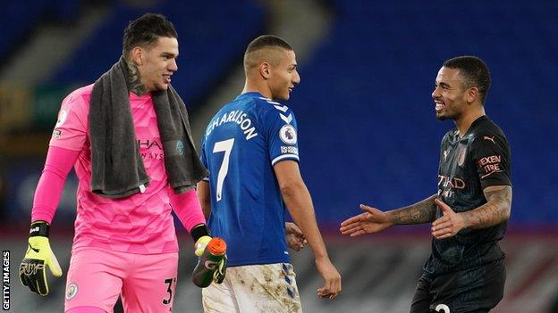 Brazil's Ederson (left) and Gabriel Jesus (right), who play for Manchester City, with compatriot Richarlison, who plays for Everton