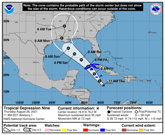 Cayman Islands placed under tropical storm warning